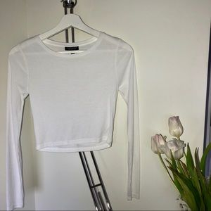 Topshop White Ribbed Crop Top